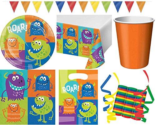 JT-Lizenzen Monster Alarm 45-teiliges Kinder Geburtstag Party Deko Set Motto Fete Feier 8 Teller, 8 Becher, 16 Servietten, Tischdecke, 8 Partytüten, 1 Wimpelkette, 3 Rollen Luftschlangen (1. Geburtstag Monster)
