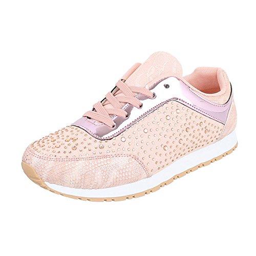 Ital-Design Low-Top Sneaker Damen-Schuhe Low-Top Sneakers Schnürsenkel Freizeitschuhe Rosa, Gr 36, Fc-S63-