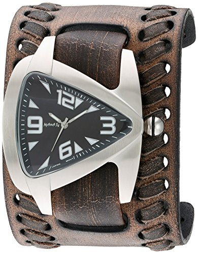 Nemesis Men's 'Oversized Teardrop Series' Quartz Stainless Steel and Leather Automatic Watch, Color:Black (Model: VBDK011K)
