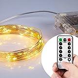 16.4FT (5m) 50er LED Lichterkette Batterienbetrieben Fernbedienung & Timer(8 Modi) IP65 Wasserdicht Sternenlicht für außen und innen