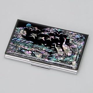 Mother of Pearl Duck, Metall/Edelstahl, schlankes Design mit Namen Gravur Kreditkarten und Id Karten, mit Kiefer und Kranichen, Design