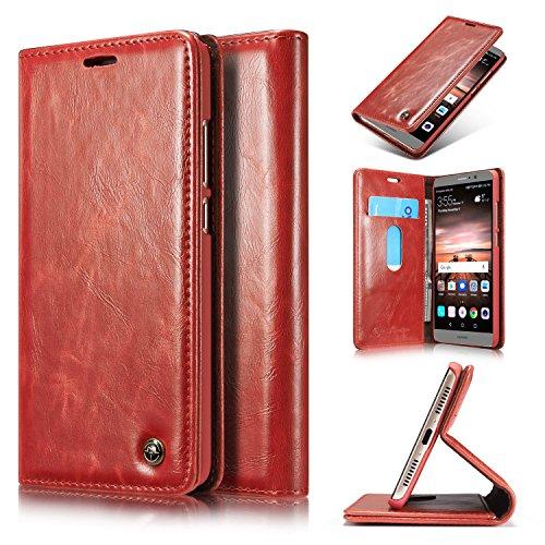 Preisvergleich Produktbild Roreikes Huawei Mate 9 Hülle, Huawei Mate 9 (5,9 Zoll) Case, Premium PU Leder Folio Flip Case mit Card Slot Kickstand Magnetic Wallet Case für Huawei Mate 9 (5,9 Zoll) - Rot