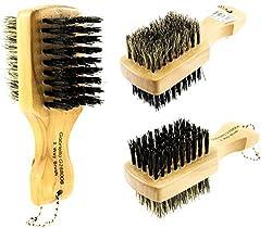 Mini Two Side Brush 100% Pure Boar Soft / Hard Bristles Moustache Beard