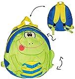"""3-D Effekt - """" Frosch """" Soft Rucksack - Tasche für Kinder - beschichtet - Jungen Mädchen z.B. für Kindergarten und Vorschule / Kinderrucksack / Kind - Frösche - Stofftasche Tagesrucksack - Kindertagesstätte Kita - grün blau - Kindergartenrucksack Kindertasche"""