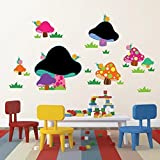 Walplus 160x75 cm Wall Stickers Mushroom Blackboard Removable Self-Adhesive Mural Art Decals Home DIY Office Décor Wallpaper Nursery Children Kids Room Gift, Multi-colour - Walplus - amazon.co.uk