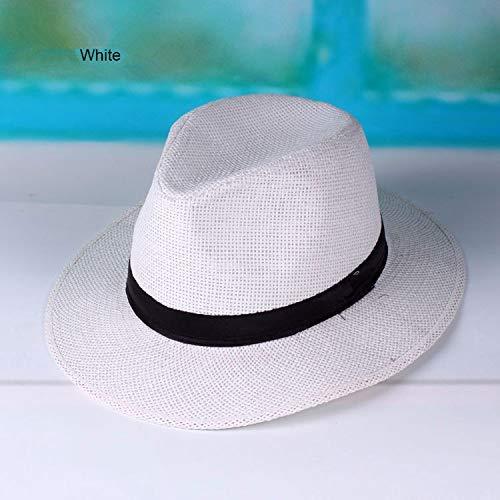 GONGFF Hüte Stroh Panama Hüte für Männer Sommer Womens Sonnenhut mit Band Weiß Beach Caps Schwarz WhiteBeach Hüte breiter Krempe Floppy Packable Adjustable (Hut Schwarzen Stroh Weißen Und)