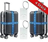 Koffergurt-Set von D&B für die ganze Familie [4 Stück] | Sorgenfrei reisen - Koffer sofort identifizieren im Urlaub & auf Ihrer Flug-Reise | GRATIS Kofferanhänger
