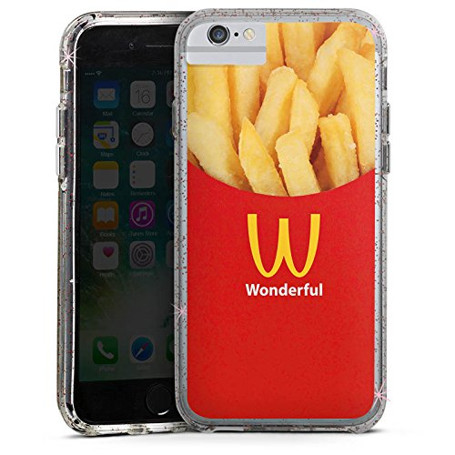 Apple iPhone 8 Bumper Hülle Bumper Case Glitzer Hülle Pommes Fast Food Frenchfries Bumper Case Glitzer rose gold