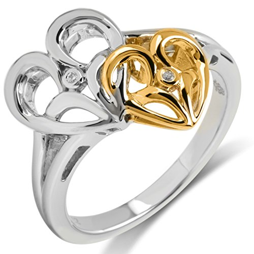 Sterling Silber mit 10 K Gelb Gold Diamant Accent Jessica Simpson Herz Ring (Ring Accent Gelb Gold Diamond)