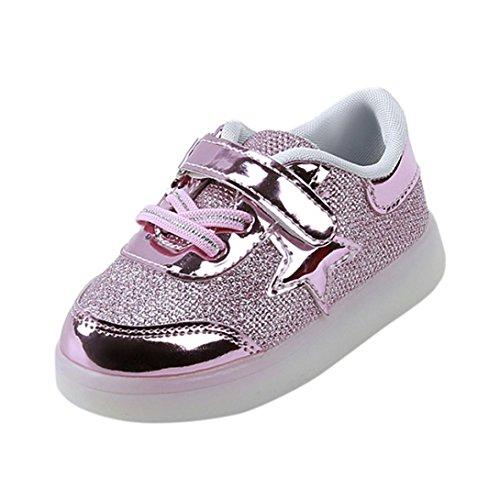 Bebé niño niña LED estrella zapatillas con luces ,Yannerr Chica Chico luminoso pequeño colorido ligeros deporte Running llevó zapatos (rosa, 23)