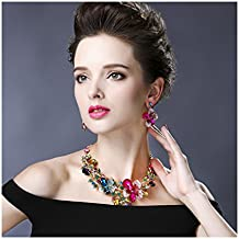 Hamer de la mujer multicolor flores de cristal grande declaración gargantilla collar y pendientes conjuntos para las mujeres