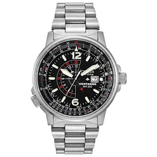 Eco-Drive NightHawk Black Dial Pilot Flight Watch