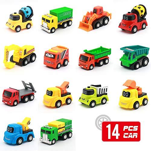 Coches y Camiones de Juguete, 14 Conjunto Push and Go Mini coches, Coches de Friccion para Niños de 3 4 5 6 Años