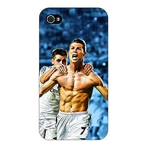 Jugaaduu Cristiano Ronaldo Real Madrid Back Cover Case For Apple iPhone 4