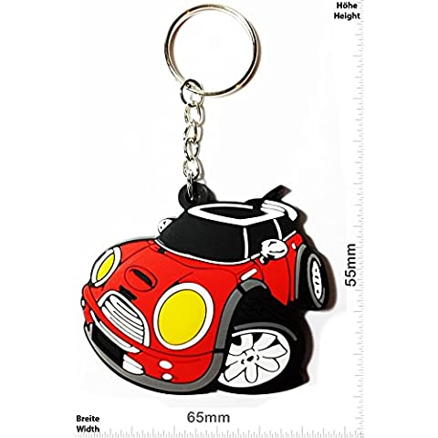 Llaveros - Keychains - Mini Cooper - red - Car - UK England - Motorsport - Key Ring - Kautschuk Rrubber Keyring - perfect also bags, wallets or briefcase - Give