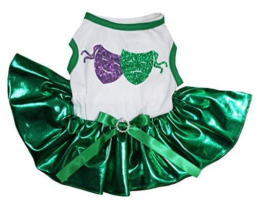 petitebelle Pet Supply Mardi Gras Bling Masken weiß T-Shirt Grün Hund Kleid (Grünen Gras T-shirt)