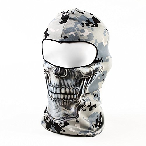 TOOGOO(R) Gray Camouflage Skull 3D Animal Active Outdoor Sports Cycling Motorcycle Masks Ski Hood Hat Veil Balaclava UV Protect Full Face Mask BB30