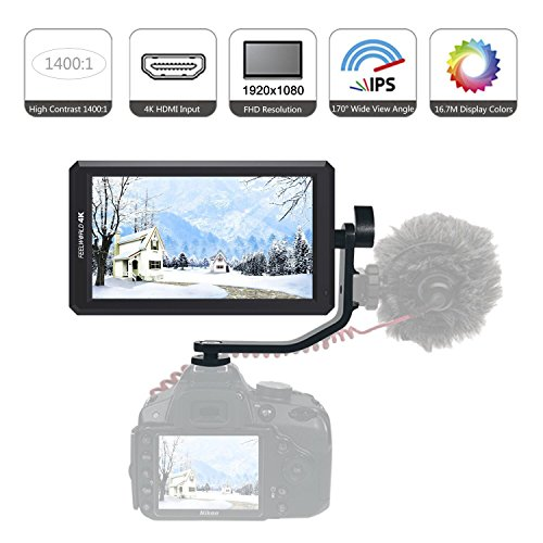 Feelworld F6 HD Auf-Kamera Monitor, 5.7 Zoll IPS 1920x1080 4K DSLR HDMI Feld-Monitor mit Kipparm, DC 8V Ausgangsleistung für Canon Nikon Panasonic DSLR und Mirrorless Kamera (Zebra 8 5 X)