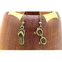 Boucles d'oreilles de plage bronze, lunettes de soleil, tongs de plage, bijoux fantaisie, cadeau maman, cadeau anniversaire