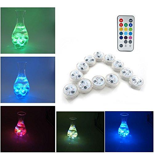 Xcellent Global Lumini da tavolo a 3 LED multicolore impermeabili con telecomando a raggi infrarossi per decorazione vasi e acquari, centrotavola, matrimoni e feste LD108 (Set da 12 pezzi)