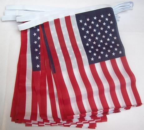 AZ FLAG Ghirlanda 4 Metri 20 Bandiere Stati Uniti 15x10cm - Bandiera Americana – USA 10 x 15 cm - Festone BANDIERINE