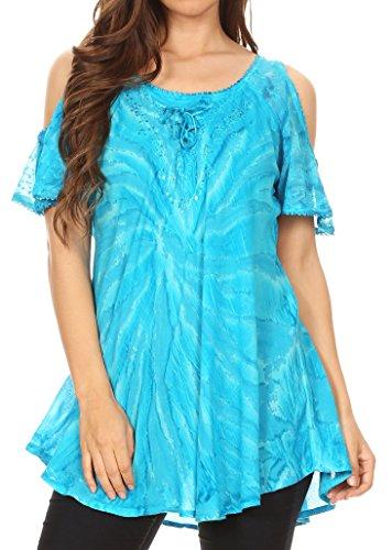 Sakkas 18723 - Filipa Damen Cold Shoulder Top Bluse Tie-Dye mit Korsett und Stickerei - Turq - OS -
