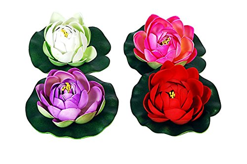 Orchard Floating Lotus Flower Red, White, Pink and Violet (Set of 4...