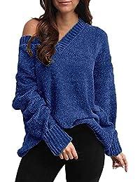 Hffan Damen Mädchen Stricken Langarmshirt Shirt Top Oberteile Bluse Langarm Freizeithemd Damenhemd Pullover Strickwaren Elegant Lose Passen V Ausschnitt