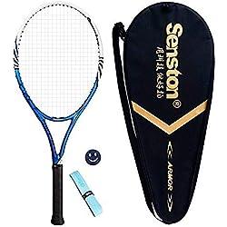 senston Raqueta de Tenis Unisex,Incluido Bolsa de Tenis/1 Grip/1 Amortiguadores,Azul