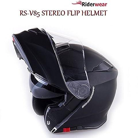 Casque moto modulable de moto Viper rs-v85Scooter Touring étui à rabat Up Casque stéréo en Noir Mat,
