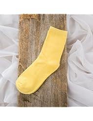 XIU*RONG Calcetines Para Las Mujeres En El Otoño Y El Invierno De Color Amarillo Brillante Dos Puntos De Color (10 Pares)
