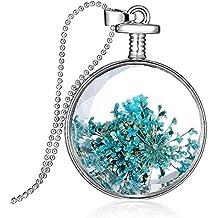 Moda Flor Seca Relicario De Cristal Collar Colgante Clara Cadena De Plata 4 #