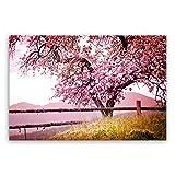 ge Bildet® Hochwertiges Leinwandbild XXL Pflanzen Bilder - Frühlingsbaum - Natur Baum Rosa Pink - 120 x 80 cm einteilig | Wanddeko Wandbild Wandbilder Wohnzimmer deko Bild | 2206 A
