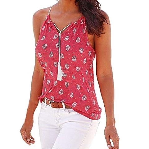 CYBERRY.M T-shirt Summer Femme Sans Manche Bretelle Fleur T-shirt Blouse