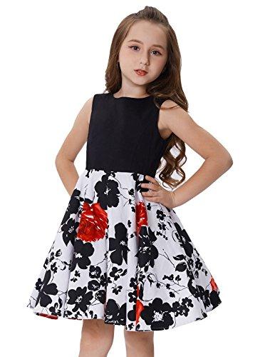 Maedchen Blumen Kleid Vintage 50er Kleid 8-9 Jahre CL10600-3 ()