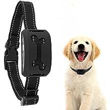 Collar Adiestramiento USB Recargable Collar Antiladridos con Pantalla LCD y Pitido / Vibración / 7 Sensibilidad / Sin Niveles de Dolor Ligero y Ajustable Collar para Perro Pequeños Grandes - Negro