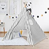 IDMarket - Tipi d'indien rayé gris tente de jeux pour enfant