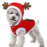 Dog Christmas Clothes Warm Winter Velvet Coat Hoodies Clothing Cute Santa Elk Reindeer Flannel Cat Costume Pet Dogs Puppy Jumper Xmas Fancy Dress Autumn Small Medium Dog Party Suit Supplies Decors