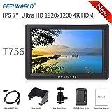 Feelworld T756 Caméra Monitor 7' 4K HDMI Ultra HD 1920x1200 Champ Vidéo LCD IPS écran 1200:1 Contraste élevé pour CAM Steady, DSLR Rig, Kit Caméscope, Stabilisateur de Poche