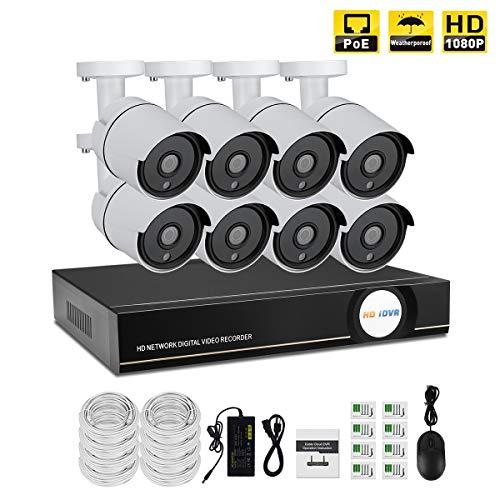 IMATEK Hausüberwachungssystem 1080P, 8 Kanäle PoE NVR Kit w / 8PCS 1080P Wetterfeste Kugel IP-Kameras, Fernüberwachungssystem(Keine Festplatte installieren) - Ip-kamera-kit