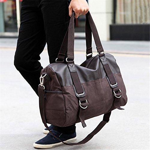 sportliche fitness - tasche leinwand tasche männlichen tasche schulter beutel reisetasche mit großer kapazität kaffee - b