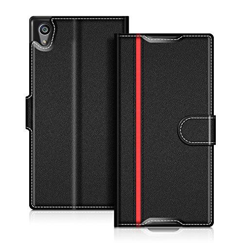 coodio Sony Xperia Z5 Hülle Leder Lederhülle Ledertasche Wallet Handyhülle Tasche Schutzhülle mit Magnetverschluss/Kartenfächer für Sony Xperia Z5, Schwarz/Rot