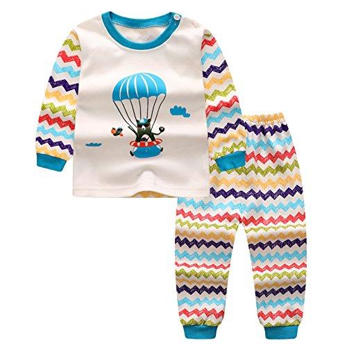 Pigiama set per bambini - mxssi ragazze ragazzi neonato camicie + pantaloni homewear indumenti da notte in cotone pajama indumenti da notte vestiti a manica lunga 110cm