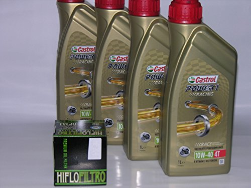 Castrol 4 LT Litri Olio Moto 4T Power 1 Racing 10W40 + Filtro Olio