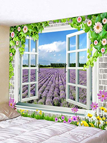 Wandteppiche Dekorative Tapisserie Neue Fenster Landschaft Tapisserie Hintergrund Tuch Schlafzimmer Schlafsaal Bett Dekoration Tapisserie Hintergrund Wand, Lavendel Außerhalb Fenster, 150 * 150 cm -