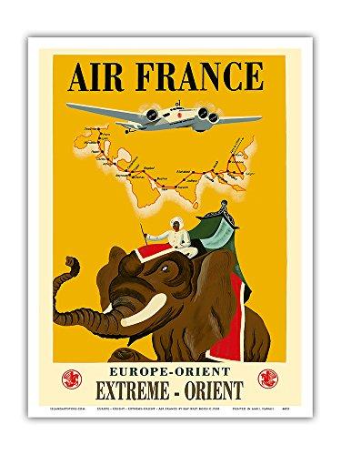 leurope-lorient-extreme-orient-air-france-elephant-avec-howdah-chariot-affiche-ancienne-vintage-comp