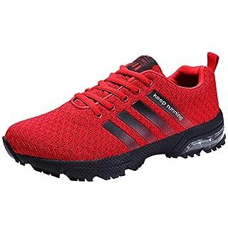 Damen Herren Laufschuhe Sportschuhe Turnschuhe Trainers Running Fitness Atmungsaktiv Sneakers(Rot,Größe43)