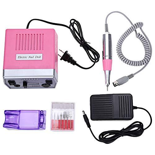 Elektrisches maniküre-set, elektrisch nagelfräser professionelle fräser maniküre pediküre 6 in 1 Multifunktion geringe Wärmeentwicklung, geringe Vibration,Pink