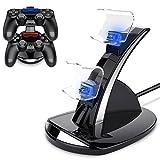 BEBONCOOL PS4 Ladestation Playstation 4 DualShock 4 Ladestation PS4 Controller Ladegerät Stand mit USB Kabel und LED für Sony Playstation 4 / PS4 Slim / PS4 Pro Game Controller