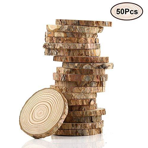 Kurtzy 50er Set aus 4-5cm Runden Naturholz Scheiben Rustikale Holzscheiben mit Rinde und Glatter Oberfläche - 5mm Dicke - Baumscheiben für Handwerke, Dekorationen und Zum Basteln